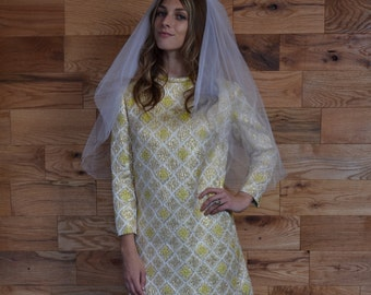 SALE 25% Vintage 60s Factory Mod Gold Metallic Brocade Wedding Dress // Handmade Courthouse Wedding // Long Sleeve Mini Dress // Winter Fall