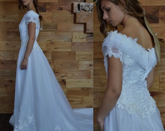 SALE 25% Vintage Off the Shoulder White Fit and Flare Floral Lace Wedding Dress with Train Chiffon Formal Traditional Bridal Gown