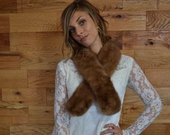 SALE 25% Vintage Brown Mink Fur Collar // Vintage Wrap Stole // Winter Wedding Accessory
