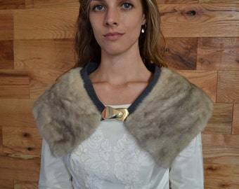 SALE 25% Vintage Grey Mink Fur Stole with Hand Sewn Gold Clasp // Gray Collar Fall Winter Wedding Accessory Shawl