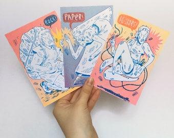 Rock! Paper! Scissors! Postcard Set
