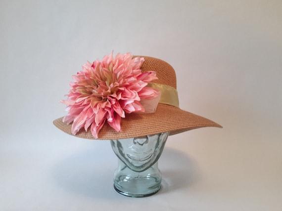c5172cc25fc Spring Green and Pink Dahlia Floppy Sun Hat Kentucky Derby