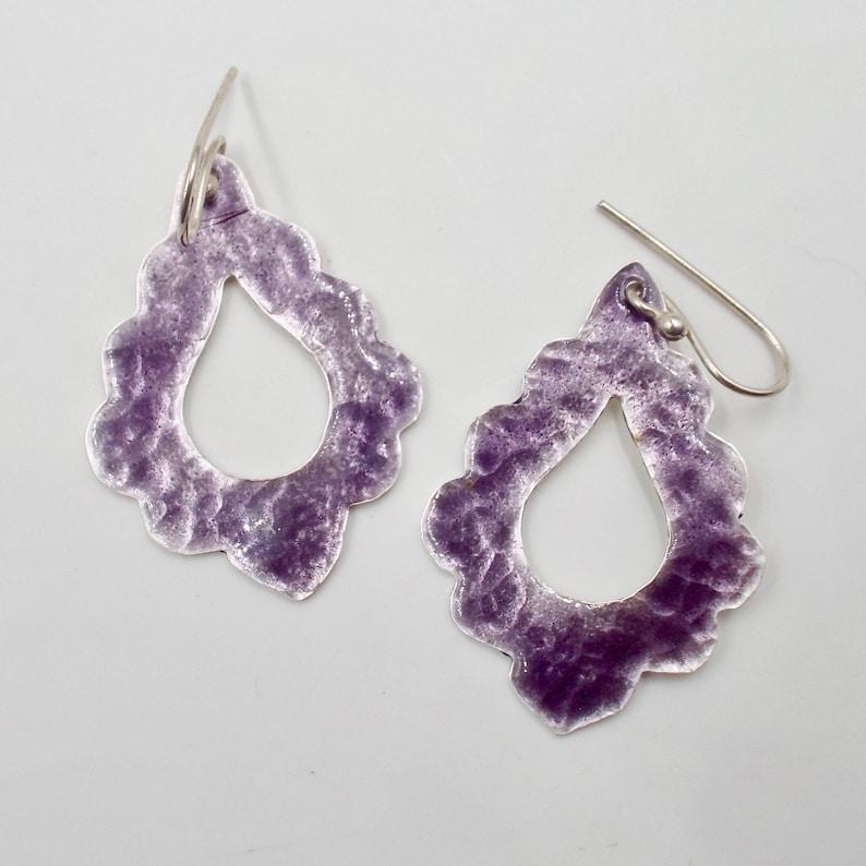 Purple Earrings Scalloped Teardrop Shaped  Fine Silver and Transparent Enamel Jewelry