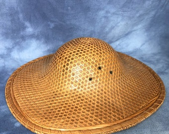 da2d45a61 Vintage Straw Coolie Hat Rice Paddy Safari Hat, Bamboo Woven 15