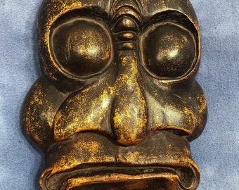 """Vintage Wooden Monster Tiki Tribal Mask, Hand Carved Face Wall Plaque 10"""" BEF 88'"""