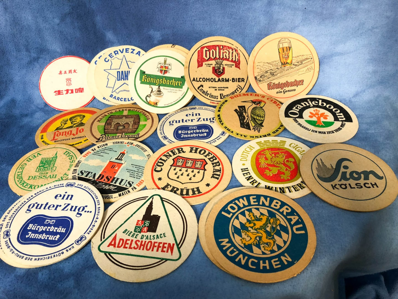 Vintage Set of 23 Beer Coasters Mat German European Round Thick Mix Lot 1970s 1960s
