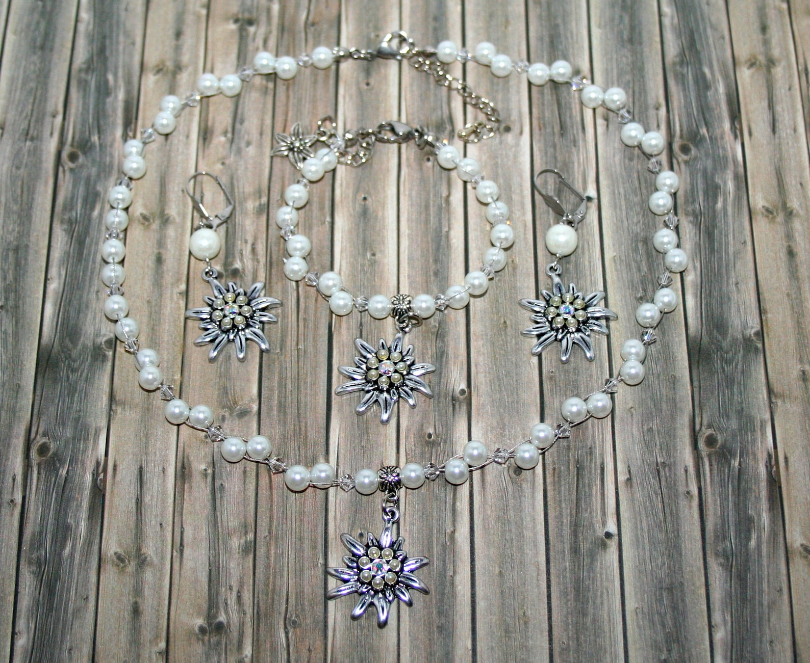 Pearl jewelry-set-white-edelweiss-necklace-earrings-bracelet