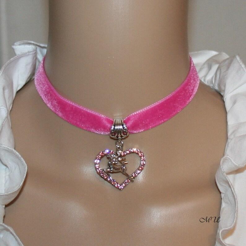 with Zirkonaheart and deer pink color Dirndl velvet choker