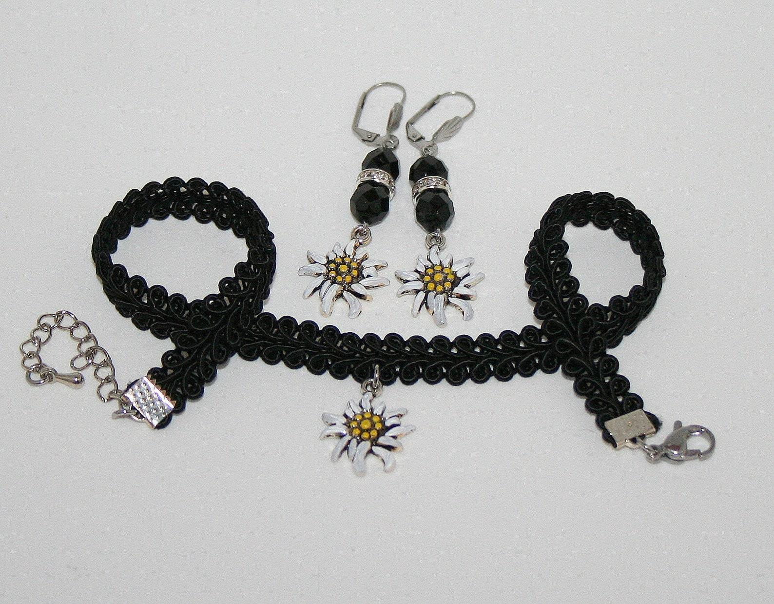 Edelweiss jewelry set black choker earrings