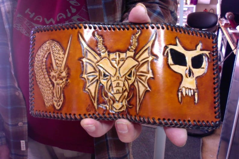 94a75e70f4ea Wallet / Men / Dragons / Leather / Hand Carved and Tooled / Trifold / Hand  Crafted / Photo Insert / Credit Card / Norse Nordic Wallet / Man