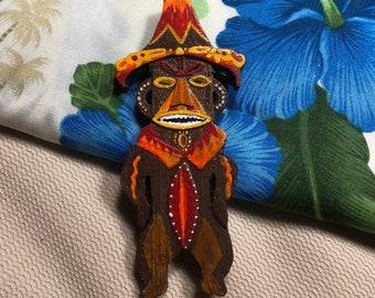 Pele Tiki God Inspired Brooch