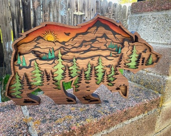 Bear and Mountains Layered Wooden Home Decor, wall art