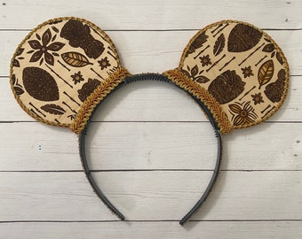 Tiki Room Inspired Mouse Ears - Laser Engraved Wood - No Bow