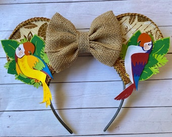 Tiki Room Inspired Mouse Ears - Laser Engraved Wood - With Bow