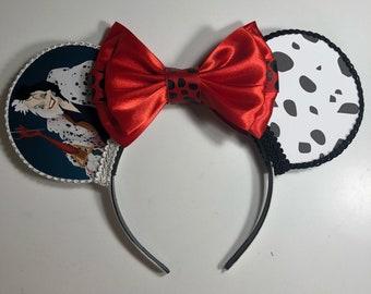 Cruella Deville Inspired Mouse Ears