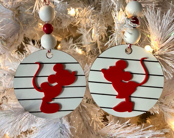 Mickey and Minnie Kissing inspired Ornament