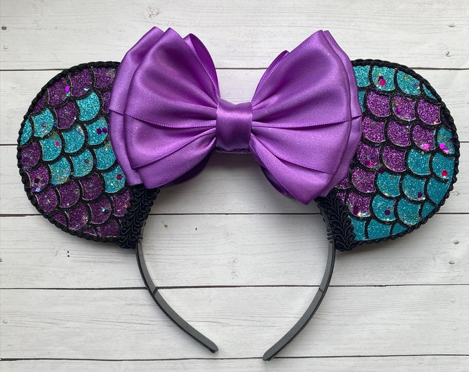 Ariel Mermaid Scales Inspired Mouse Ears