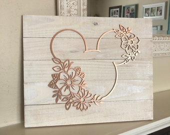 Floral Mickey Inspired Sign