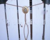 Vintage Goldtone Tan Chalcedony Stone Xtra Long Bolo Tie John Travolta Urban Cowboy Natural Marble Agate and Goldtone Rancher Farmer Tie