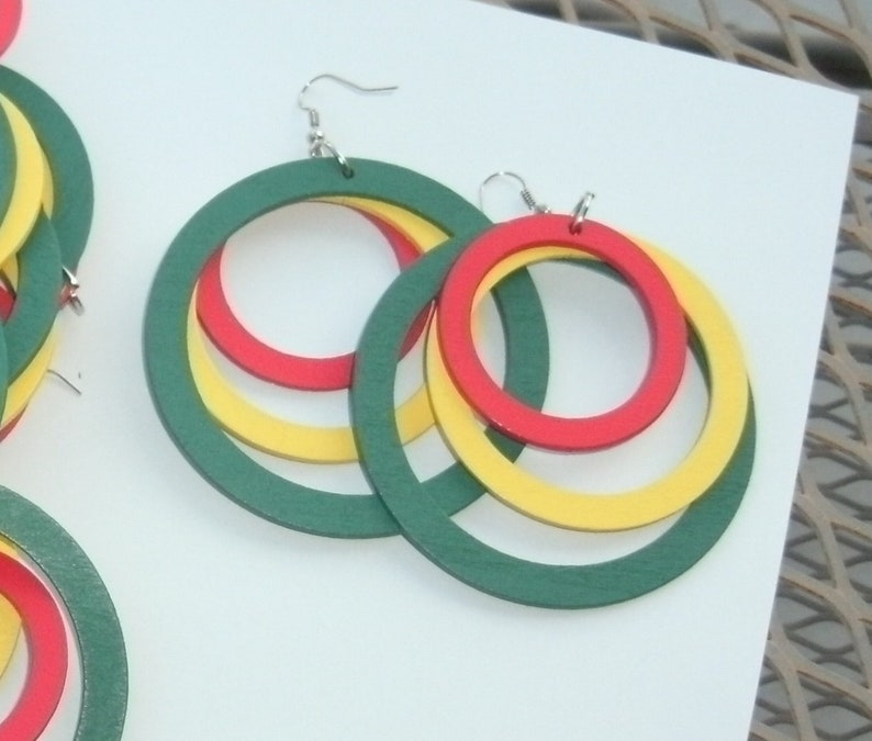 Mexican Fiesta Party Favors 8 Pairs Colorful Red Yellow Green Large Dangle Hoop Earrings Light Wood Festive South of Border Giveaway Gift