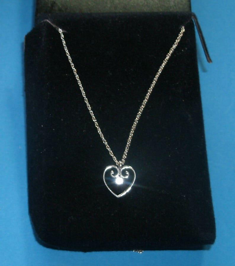 5c4382b69c64 14K White Gold Small Diamond Heart Chain Necklace 17.5 | Etsy