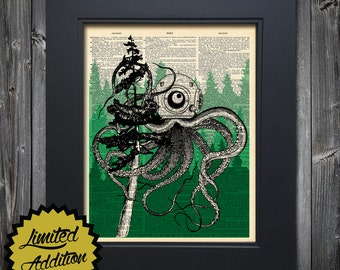 Pacific Northwest Tree Octopus Limited Edition Letterpress Print