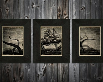 Complete set of 3 Kraken art prints Sailors delight on Upcycled vintage Dictionary page #0007