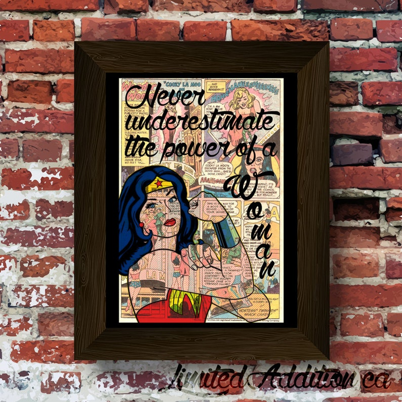 Wonder Woman Never Underestimate The Power Of A Woman Quote Etsy