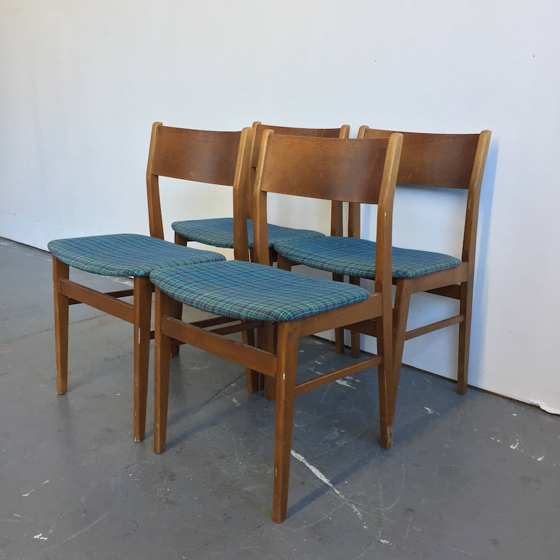 34e40e03dc7e Set of 4 Vintage Danish Modern Dining Chairs by Sax Mobler | Etsy