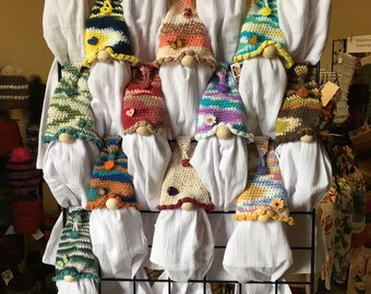 Gnome Towel Topper, Kitchen Gnome, Crocheted Dish towel Holder, Removable Flour Sack Dish towel