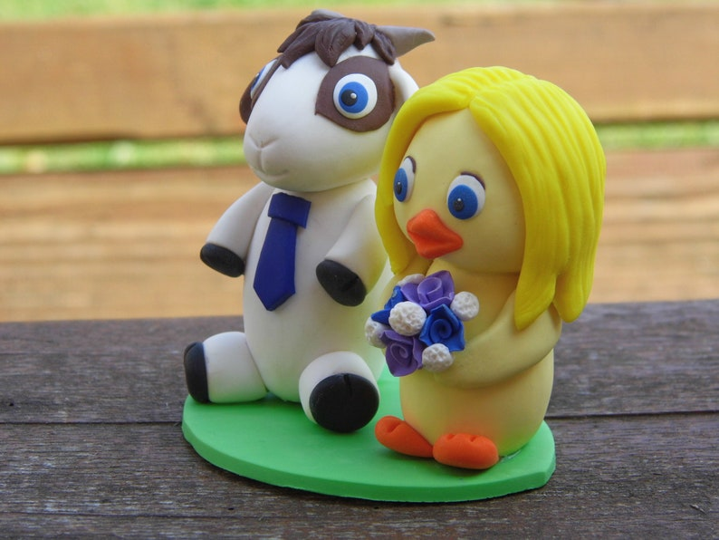 Personalized animal wedding cake topper Chicken figurine ...