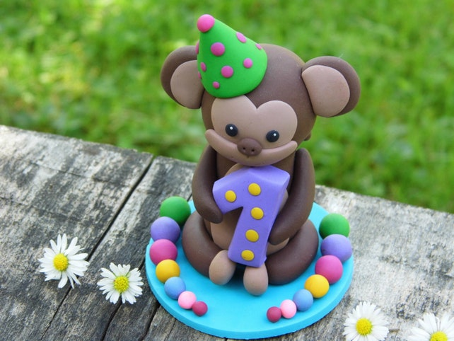 Personalized 1st Birthday Cake Topper Clay Figurine Monkey Etsy