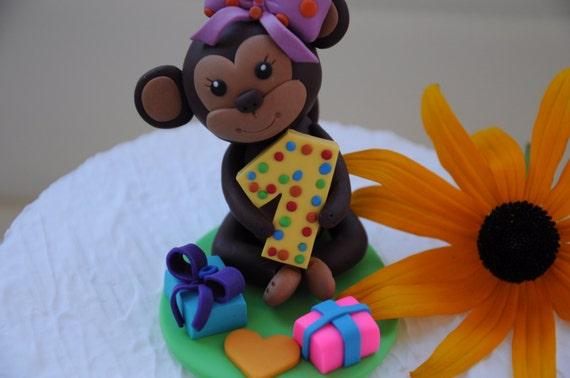 Excellent Monkey Birthday Cake Topper 1St Birthday 1St Cake Topper Etsy Funny Birthday Cards Online Kookostrdamsfinfo