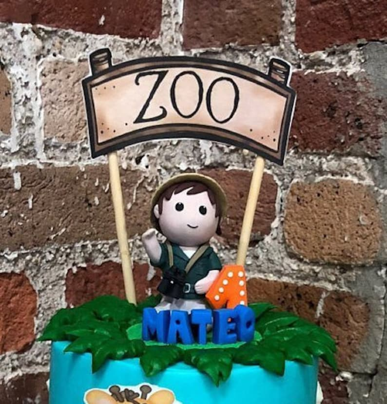 Birthday Boy Cake Topper Zoo Themed Party 1st