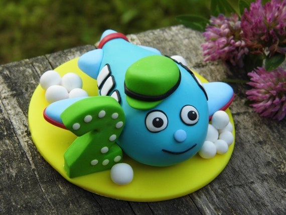Super 2Nd Birthday Cake Topper Airplane Figurine Cake Decor Gift For Etsy Funny Birthday Cards Online Fluifree Goldxyz