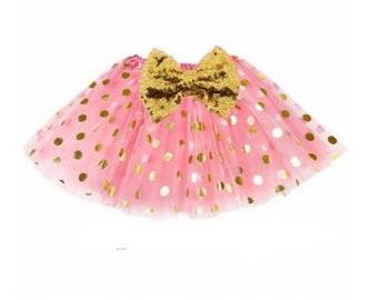07b67a2c86 Pink tutu, Baby Tutu, Smash Cake Tutu, Infant Tutu, Tutu, Photo Prop, First  Birthday, gold and pink tutu, gold polka dot tutu, girls tutu