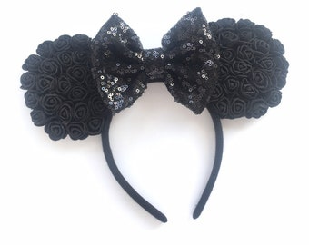 c6df4d8251cd Black Floral Minnie Mouse Ears, Birthday Headband, Disney Ears, all black Minnie  Ears