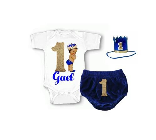 First Birthday Outfit Boy Blue 1st Cake Smash