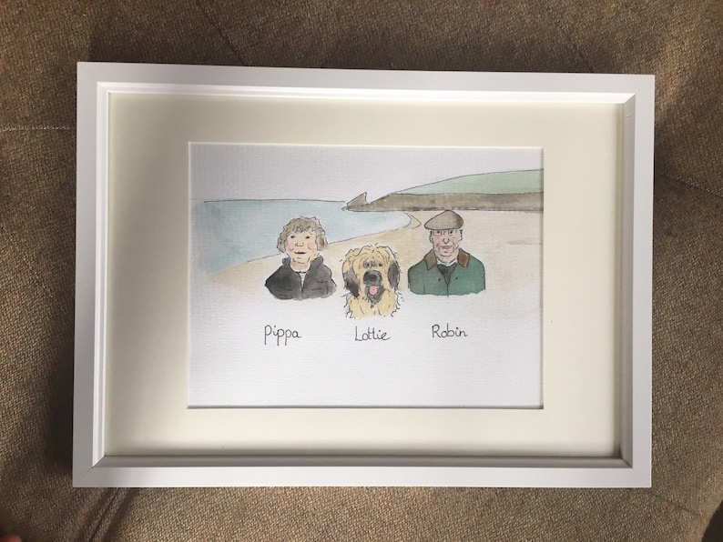 Framed family portrait illustration watercolour pet and family portrait hand painted