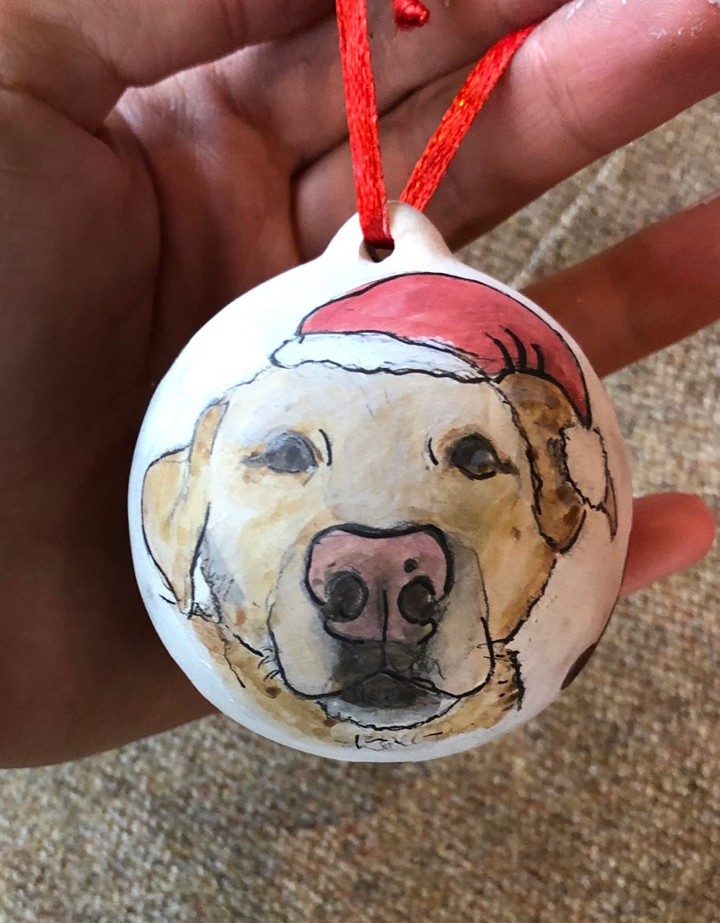 Hand painted pet portrait  and bauble bundle Reserved for Jo