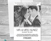 Movie Poster Save The Date - Movie Poster Wedding Invitation - Save The Date - Wedding Invitation - Movie Theme Invitation - Printable