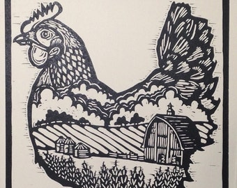 Bantam Chicken Hand Carved Linocut Print