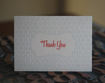 Light Blue and Red Thank You Letterpress Card