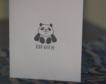 Bear With Me Letterpress Folded Card
