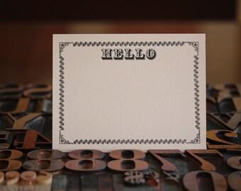 Hello,  Letterpress Note Card