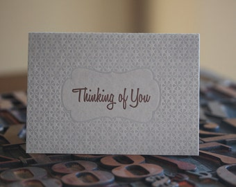 Grey and Brown Thinkng of You Letterpress Card