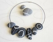 Valentine's day gift Nature necklace Gray flat pebbles Paper jewelry contemporary Beach stone choker Handmade fake stones Mindfulness gift