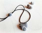 Beach stone heart pendant Heart rock necklace Grey stone necklace Rock jewelry Heart shaped stone Valentine's gift for wife Anniversary gift