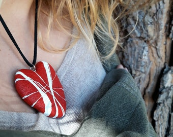 Red Heart Necklace Unusual jewelry design Heart pendant of stone in paper mache Christmas gift ideas for sister, mum, friends