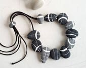 Contemporary jewelry design Beach stone necklace in paper mache Modern minimalist necklace Sustainable gift for women who has everything